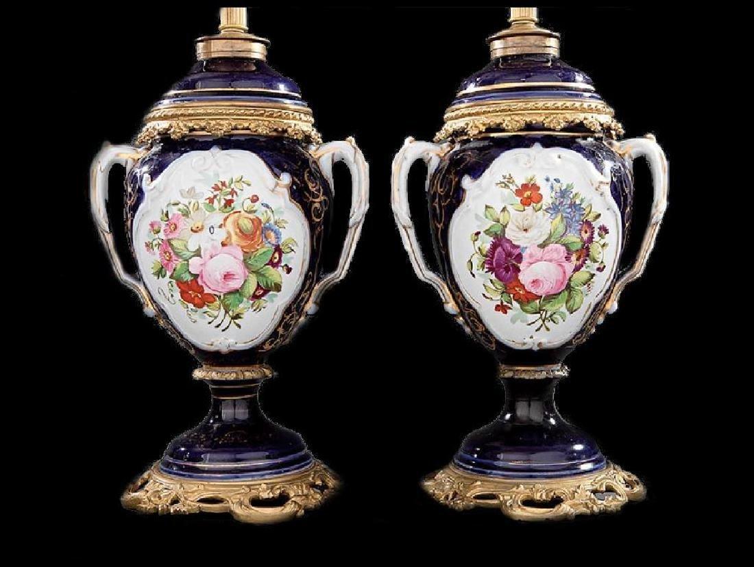 Pair of Bronze-Mounted Paris Porcelain Vases - 2