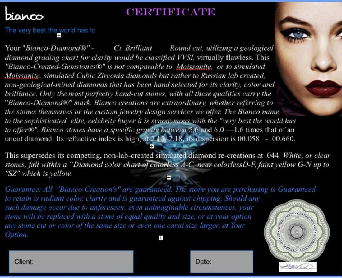 7ct Brilliant Cut Round Canary BIANCO Diamond - 3