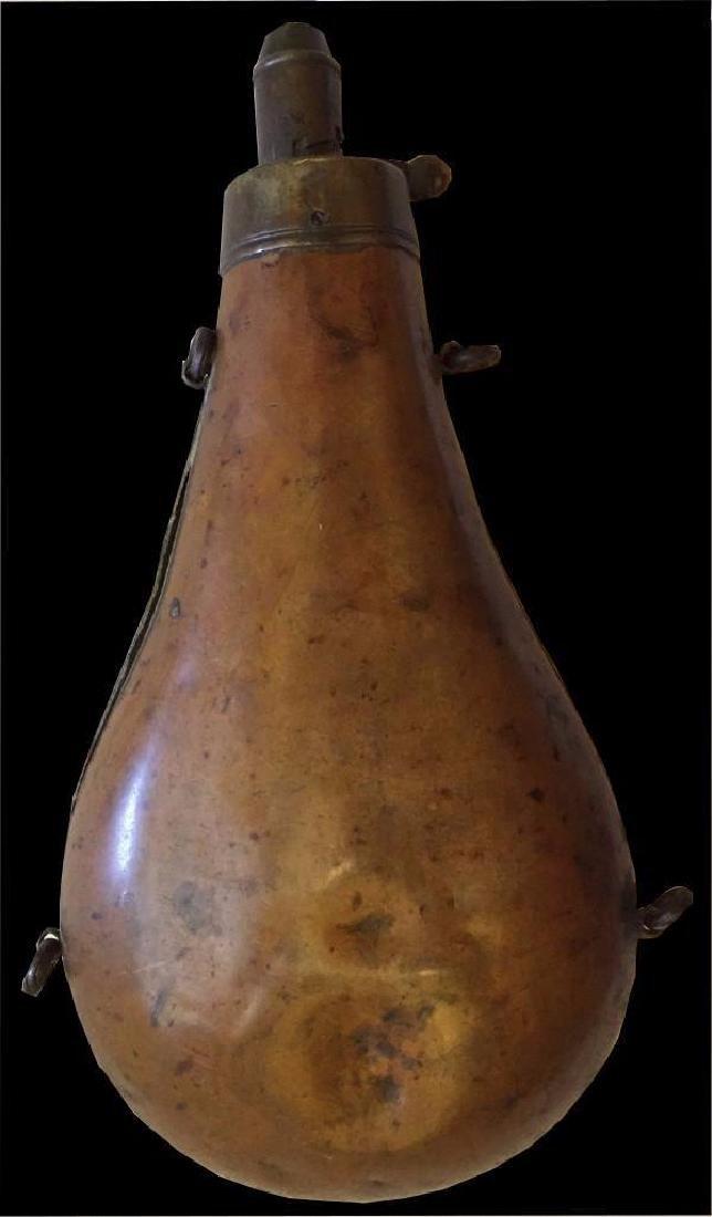 Vintage G & J.W. Hawksley Powder Flask English Brass - 2