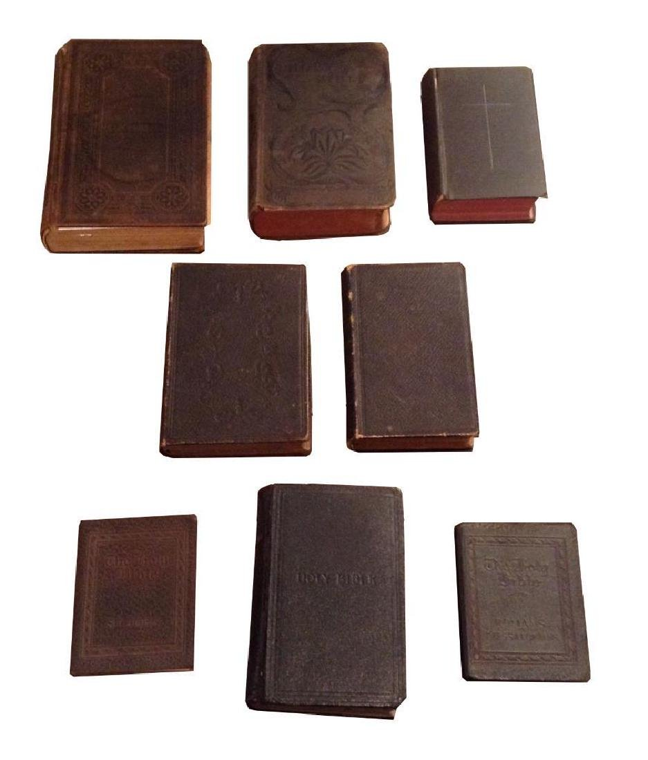 8 Antique Bibles & Books Some Leather Bound Inscribed