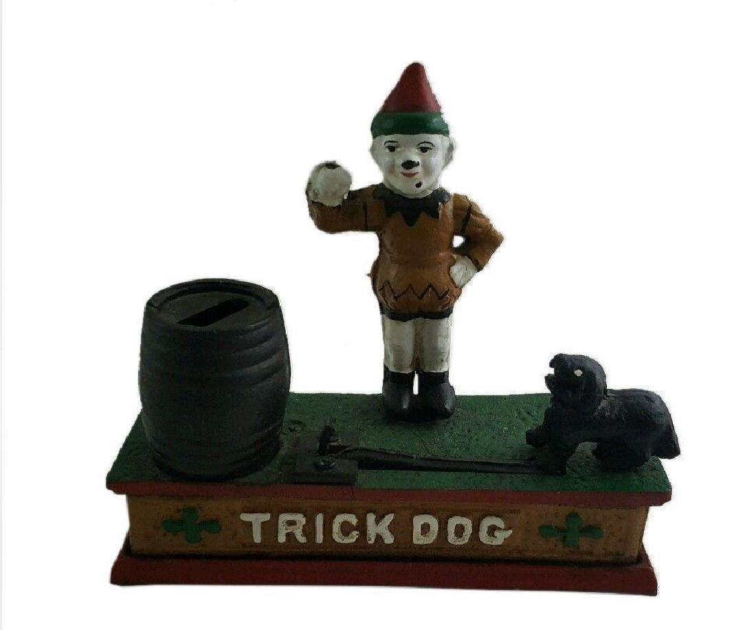 Trick Dog Cast Iron Mechanical Coin Money Bank Vintage - 2