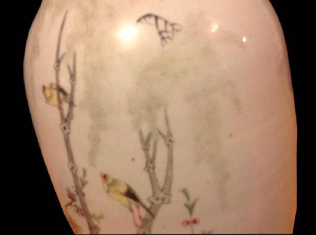 Chinese Birds Tree Blossoms Butterflies Large Porcelain - 4