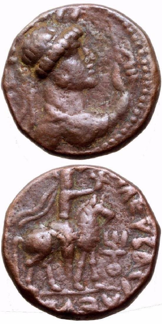 Kushans Indo Skythian Soter Megas Ae Tetradrachm Coin
