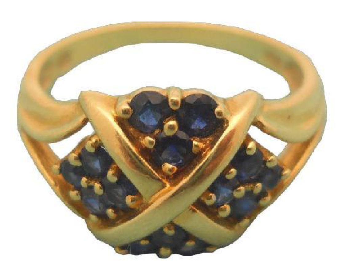 Antique 14kt Yellow Gold Blue Sapphires Ring