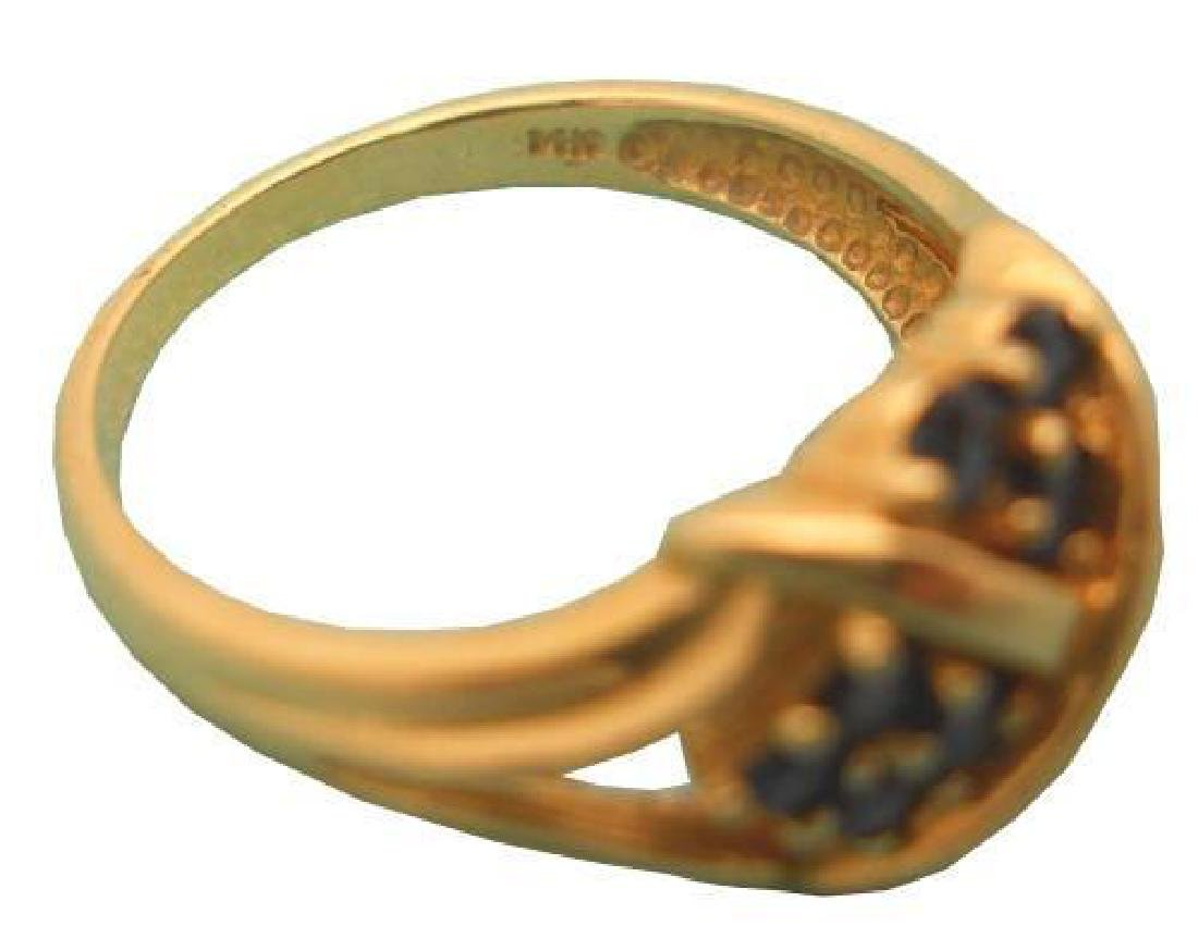 Antique 14kt Yellow Gold Blue Sapphires Ring - 2