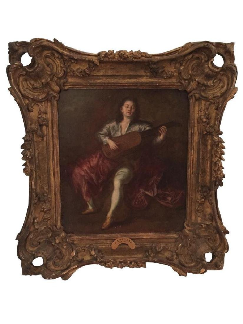 School of Watteau, Lute Player Oil Painting