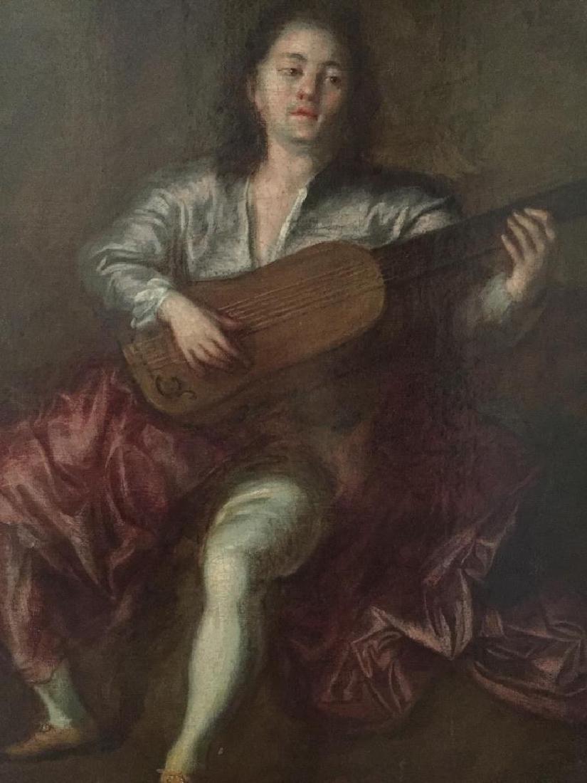 School of Watteau, Lute Player Oil Painting - 2