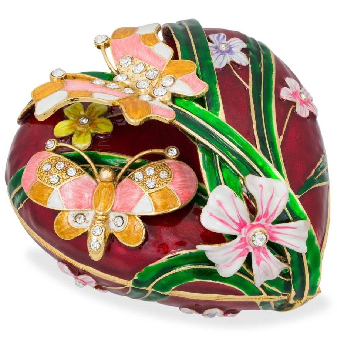 """Faberge Inspired 6.5"""" Valentine's Love Heart with"""