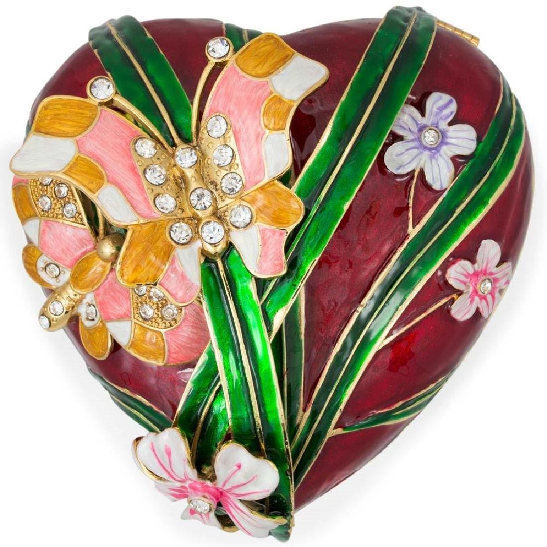 """Faberge Inspired 6.5"""" Valentine's Love Heart with - 5"""