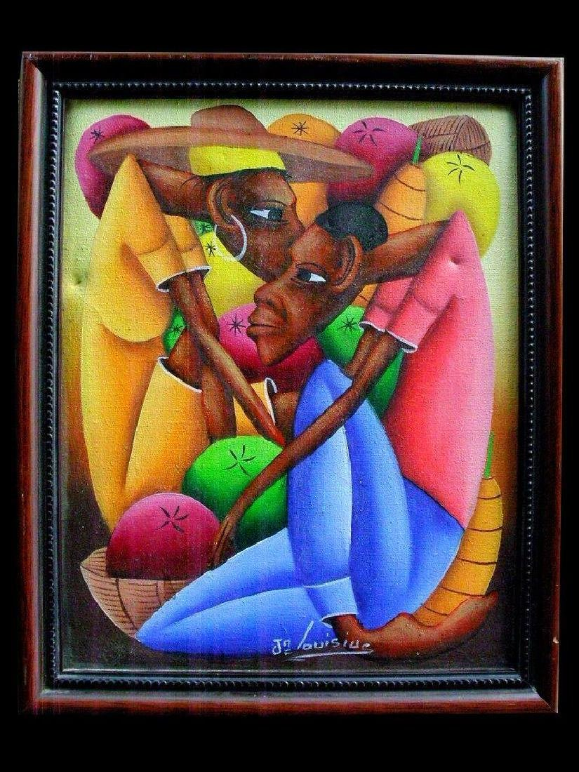 Jean Bruno Louisius Signed Haitian Acrylic On Canvas 8