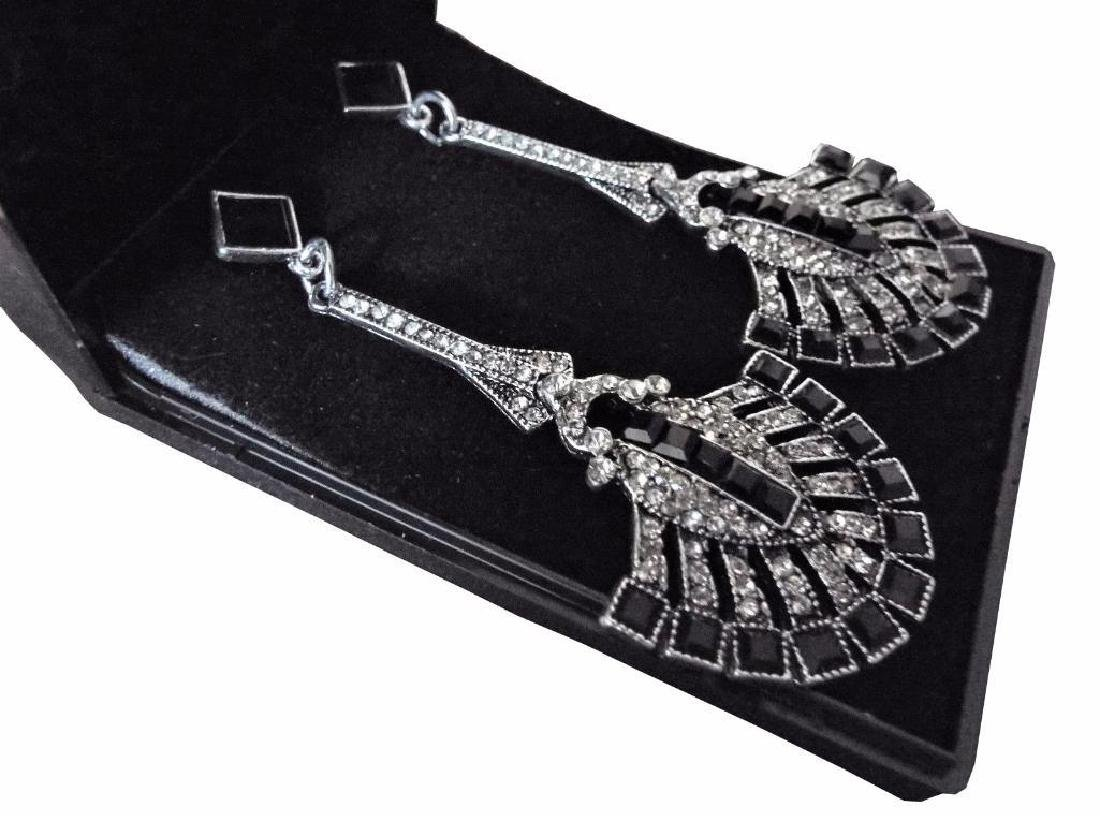Gift Boxed Long Silver Art Deco Vintage Black Red