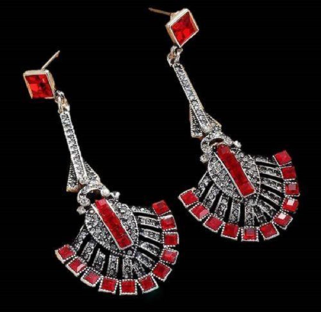 Gift Boxed Long Silver Art Deco Vintage Black Red - 3
