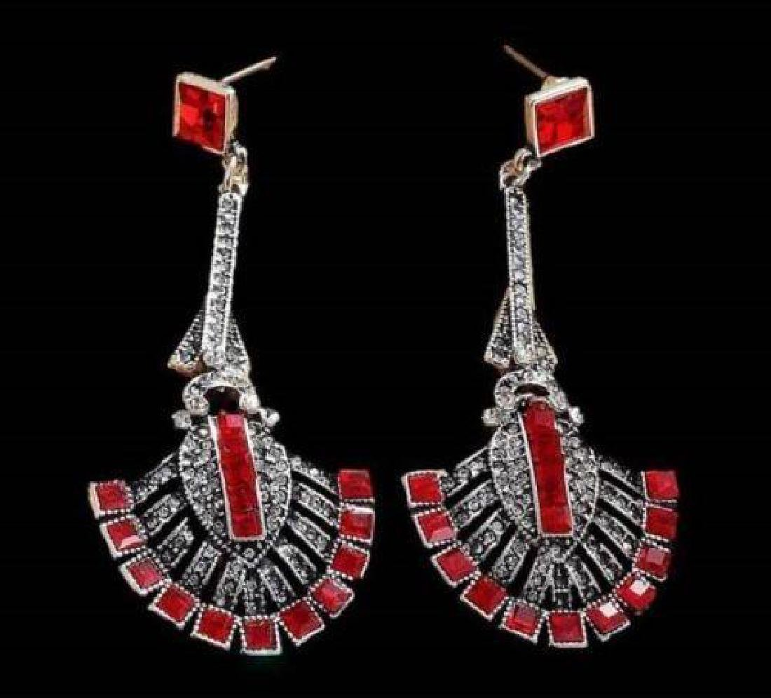 Gift Boxed Long Silver Art Deco Vintage Black Red - 4