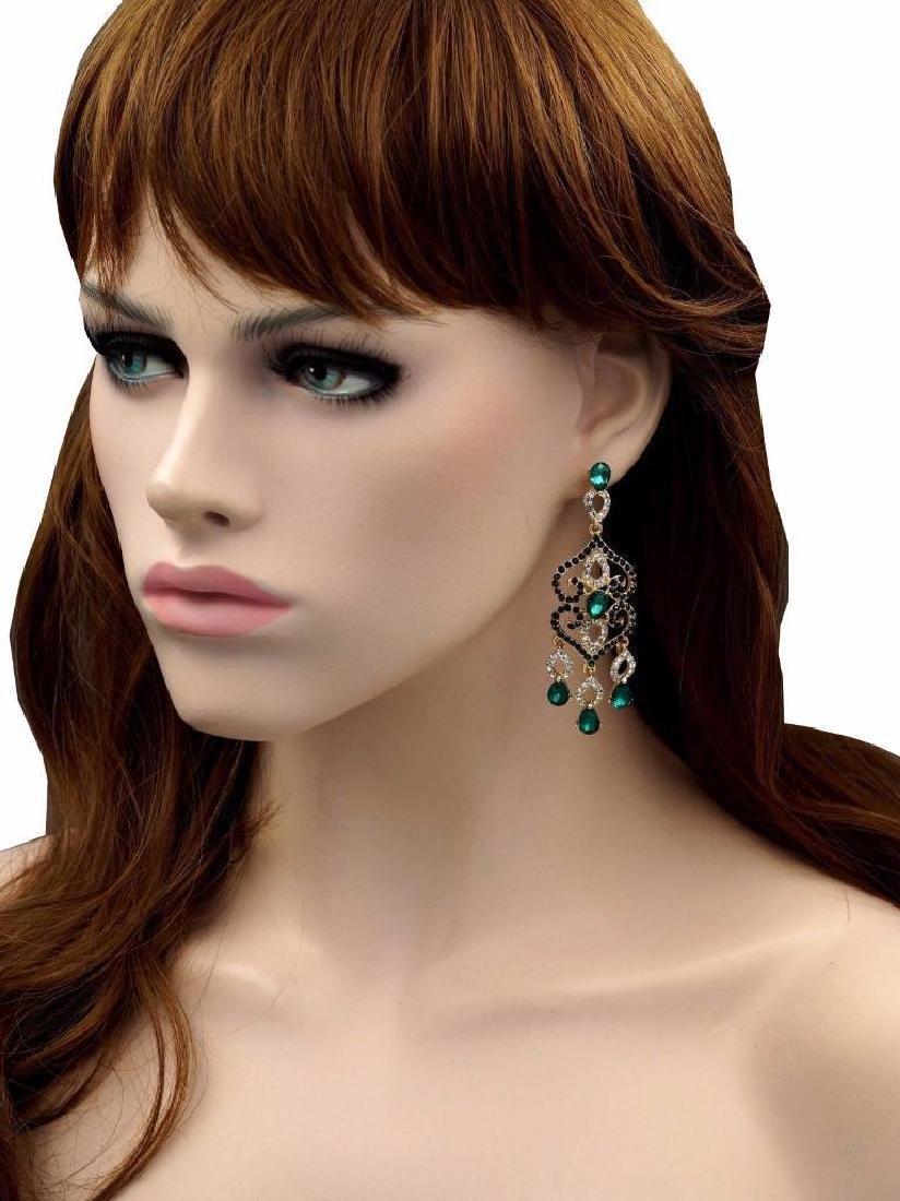 18k Gold Plated Gp Green Crystal Rhinestone Chandelier