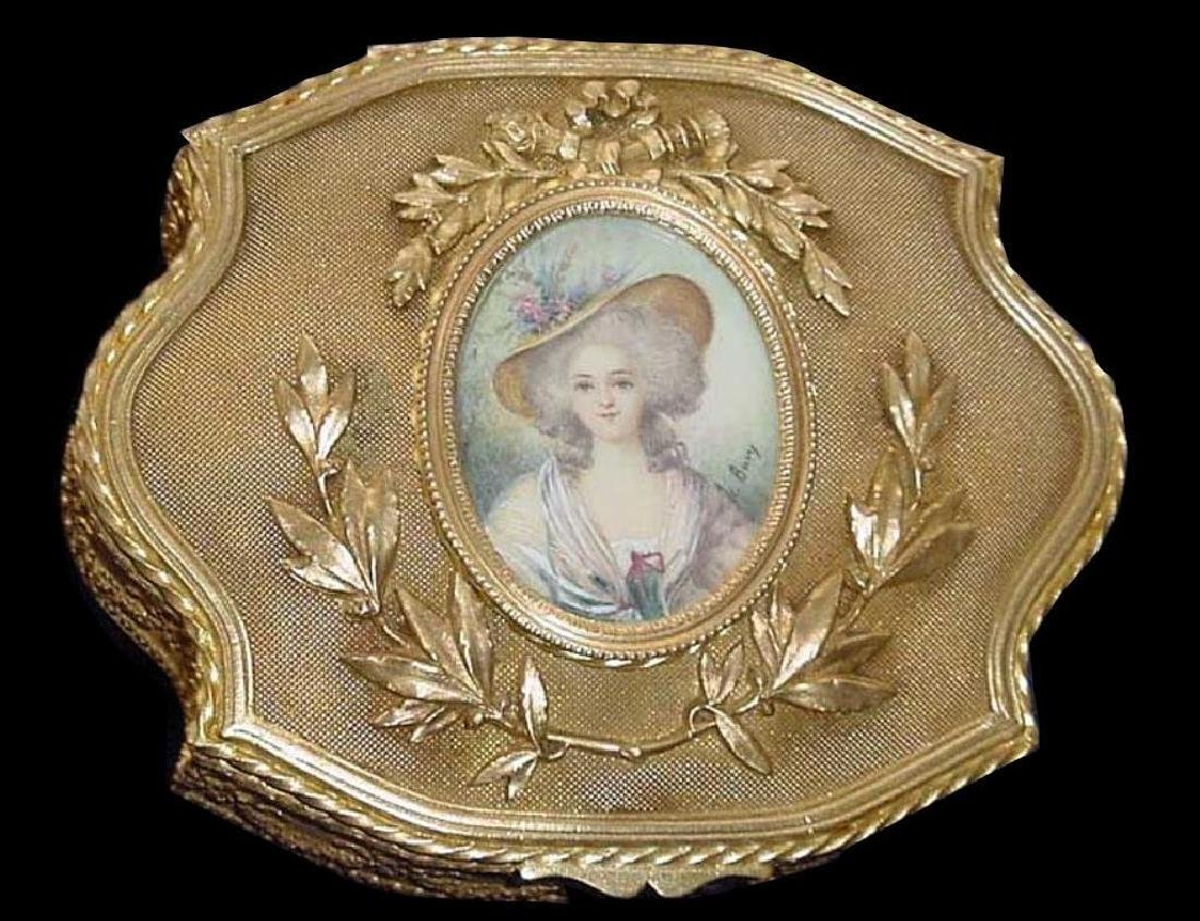 Signed French Miniature Dore Jewel Box