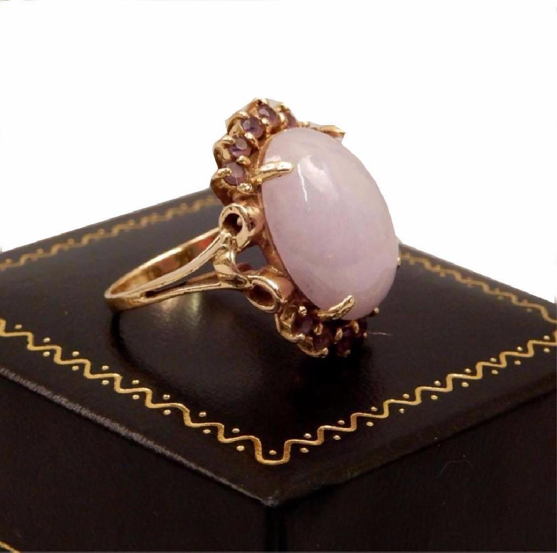 14k Gold, Lavender Jade And Amethyst Ring