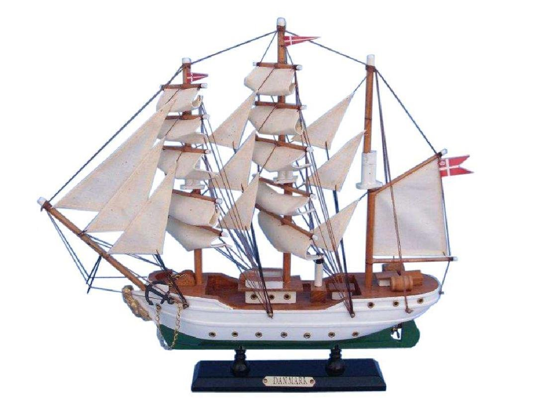 "Wooden Danmark Tall Model Ship 14"""