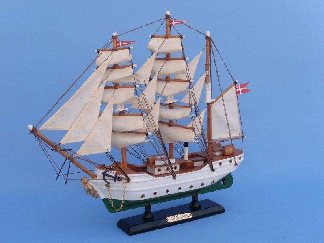 "Wooden Danmark Tall Model Ship 14"" - 2"