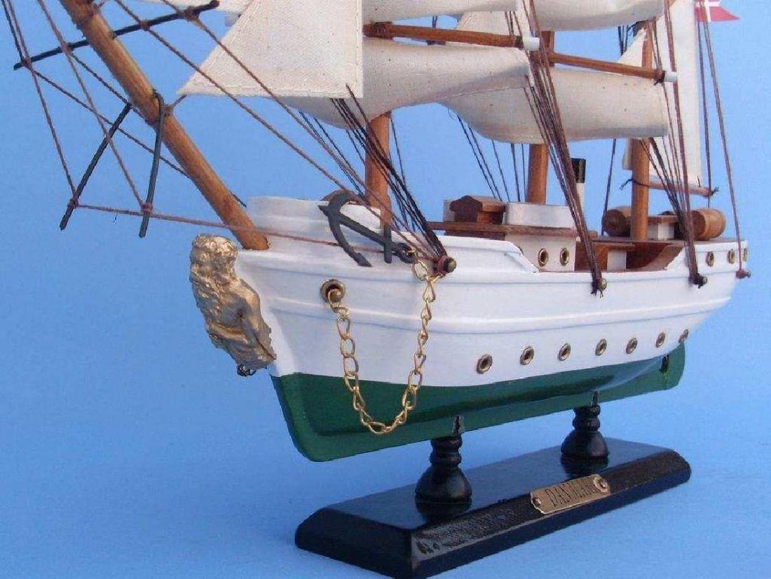 "Wooden Danmark Tall Model Ship 14"" - 3"