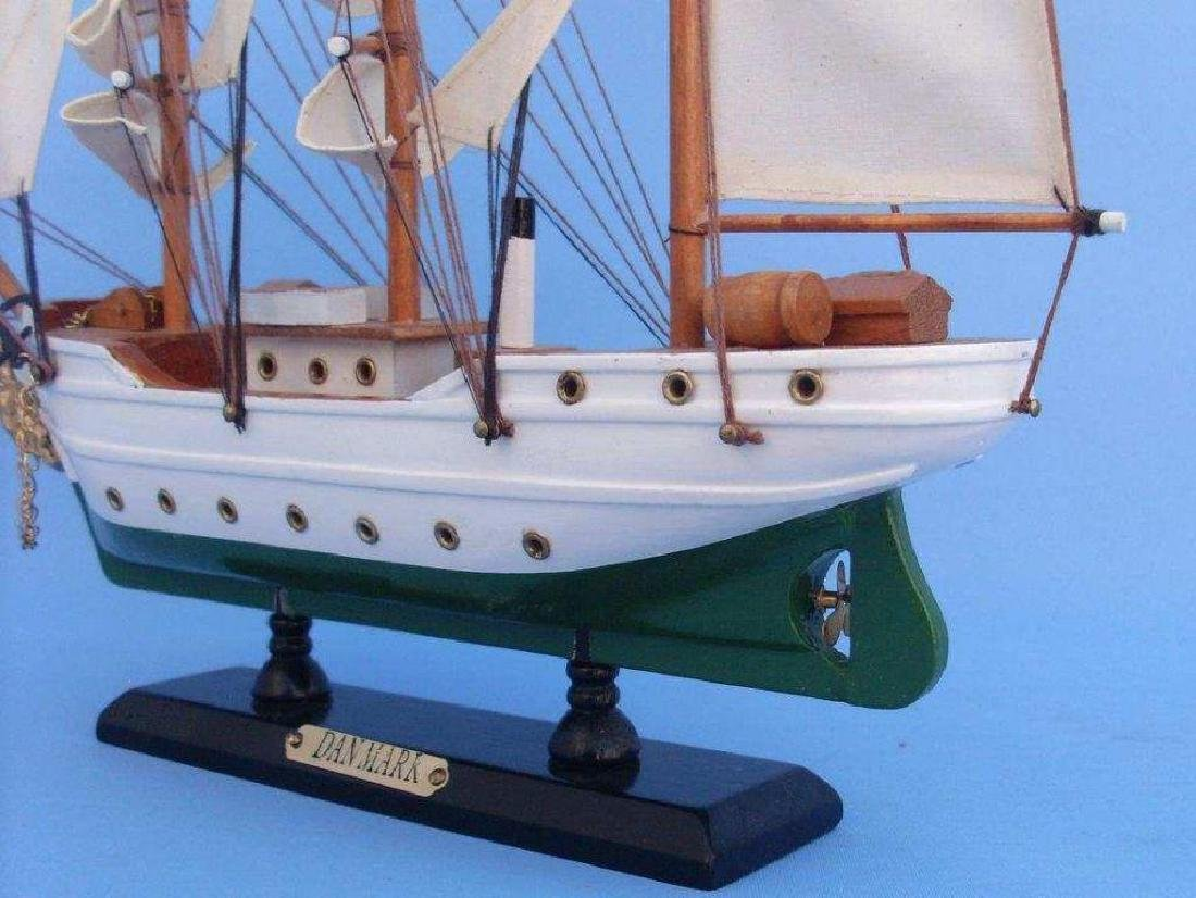 "Wooden Danmark Tall Model Ship 14"" - 4"
