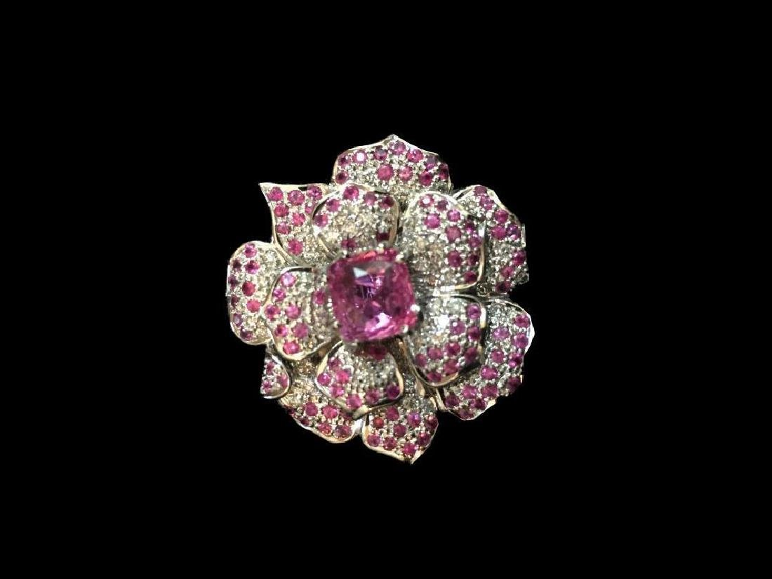 Pink Sapphire & Diamond Floral Brooch Pendant