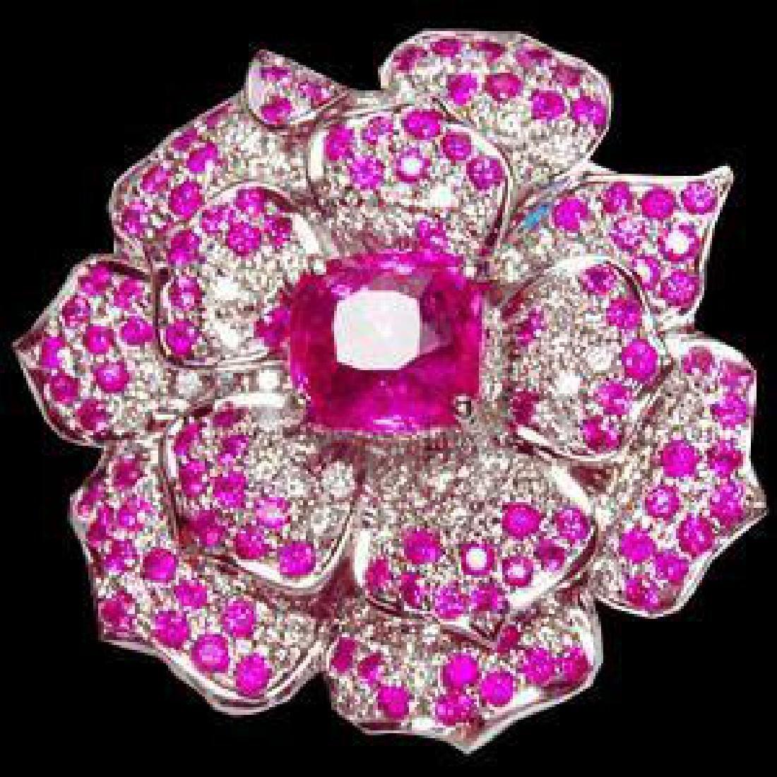 Pink Sapphire & Diamond Floral Brooch Pendant - 2