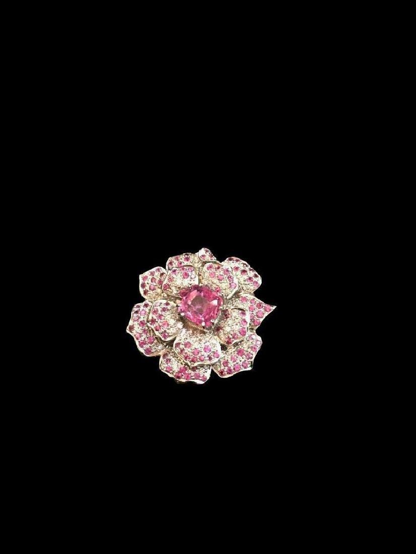 Pink Sapphire & Diamond Floral Brooch Pendant - 3