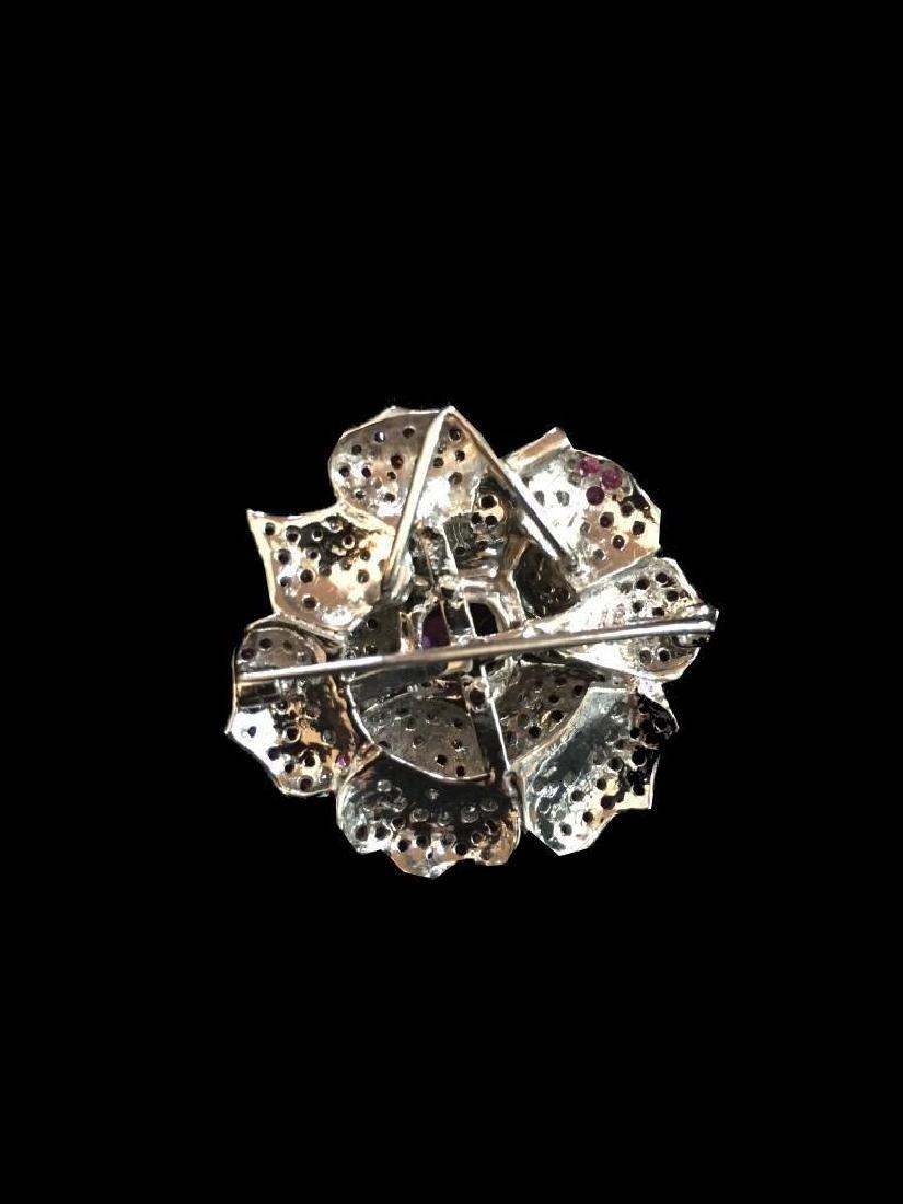 Pink Sapphire & Diamond Floral Brooch Pendant - 4