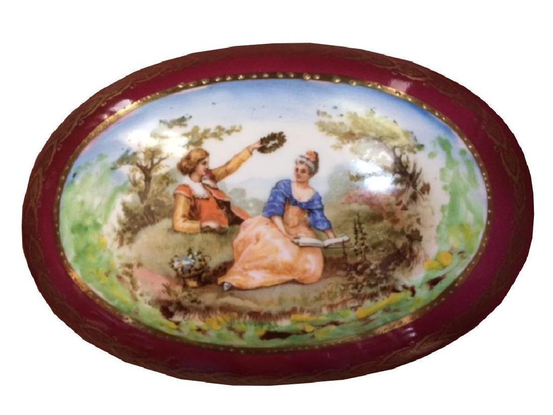 Victorian Gilt Porcelain Jewel Box Casket