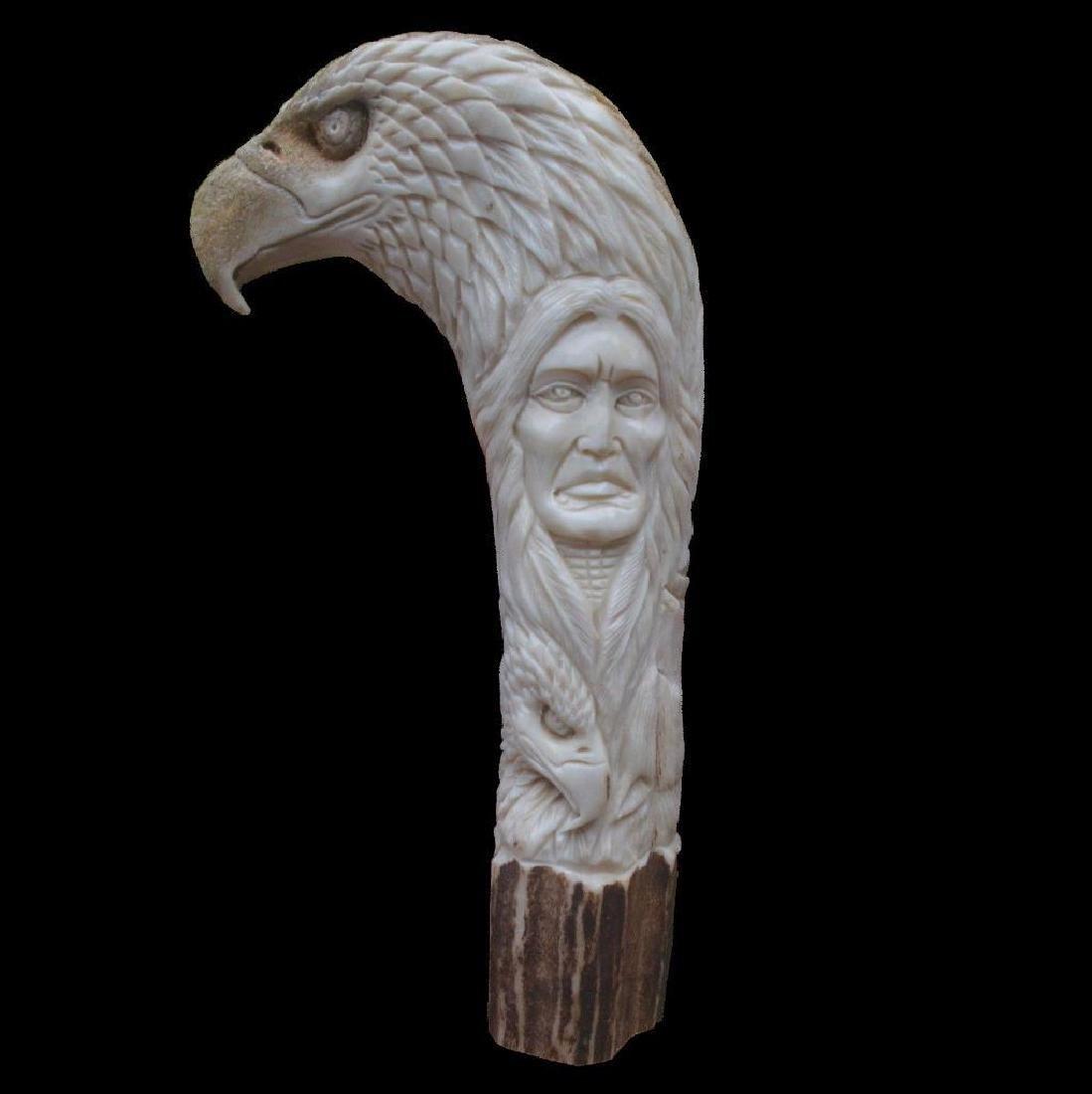 Animals Totem Indian Carved Handle 146mm In Deer Antler