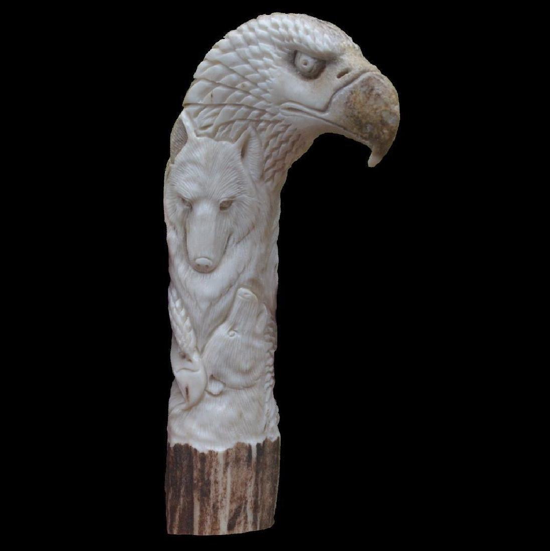 Animals Totem Indian Carved Handle 146mm In Deer Antler - 4