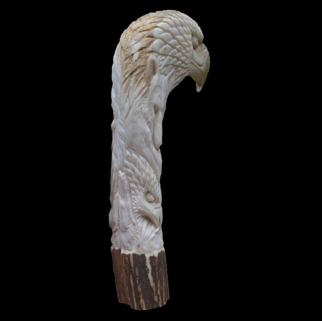 Animals Totem Indian Carved Handle 146mm In Deer Antler - 5