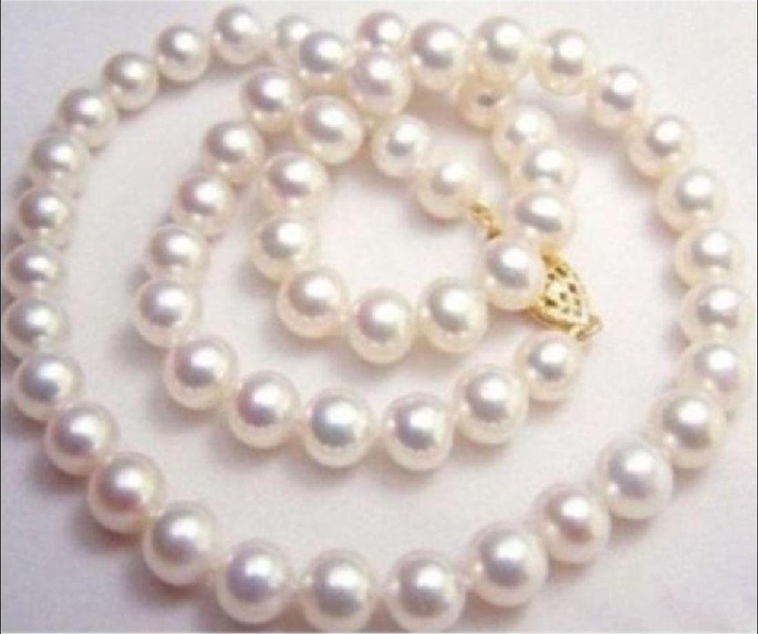 "20"" 9-10mm Natural White South Sea Aaa+ Pearl Necklace"
