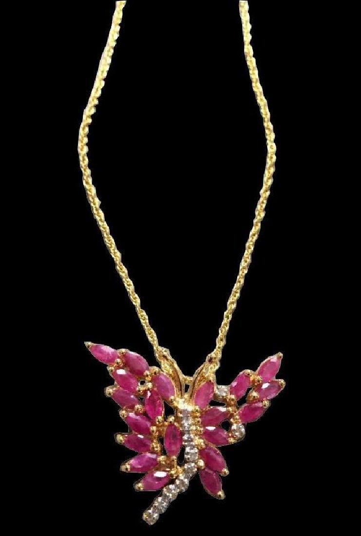 Ruby & Diamond Butterfly Pendant Necklace