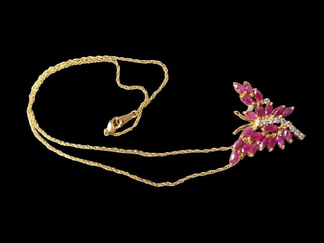 Ruby & Diamond Butterfly Pendant Necklace - 2