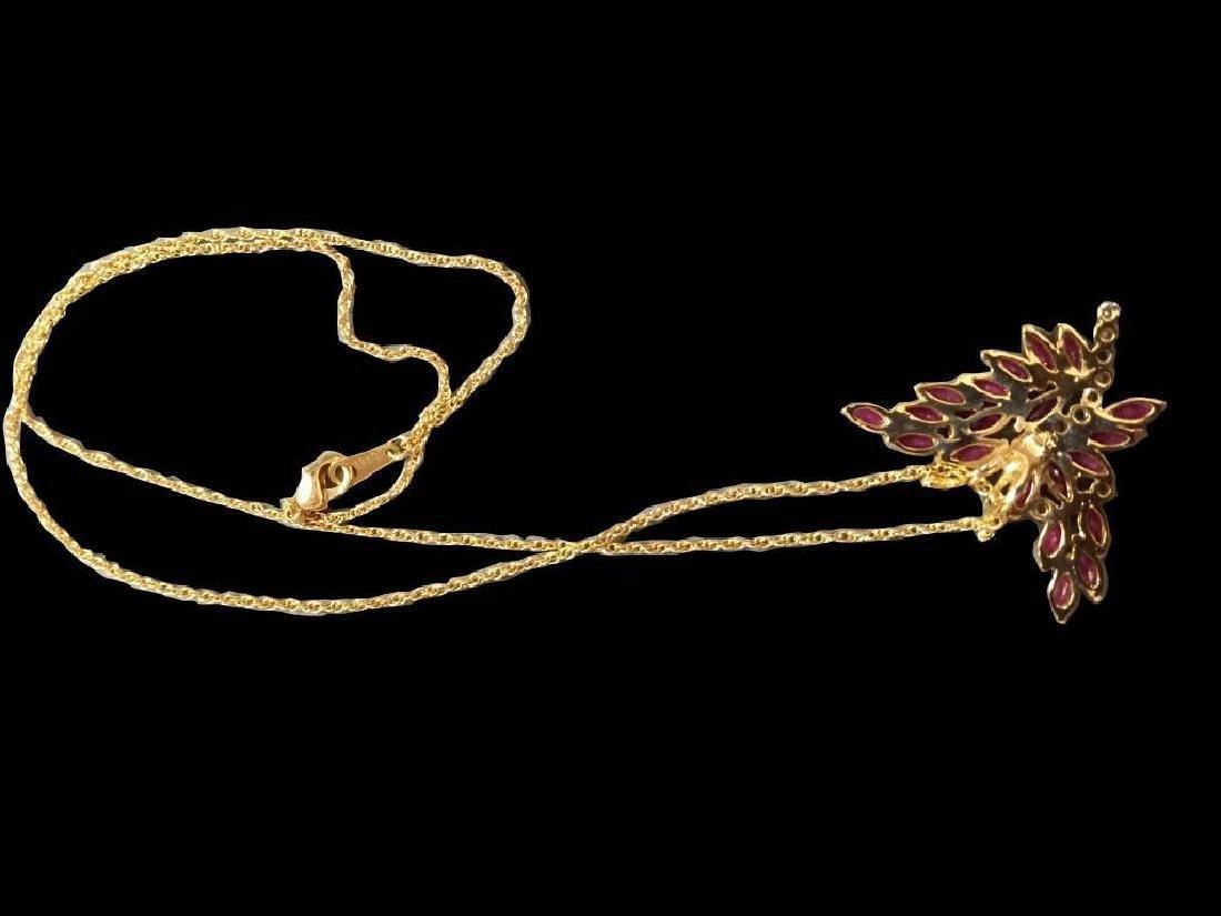Ruby & Diamond Butterfly Pendant Necklace - 3