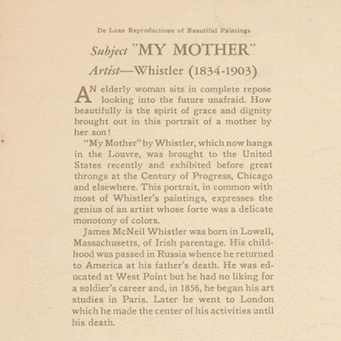 """1935 Framed Print """"My Mother"""" by Whistler - 2"""