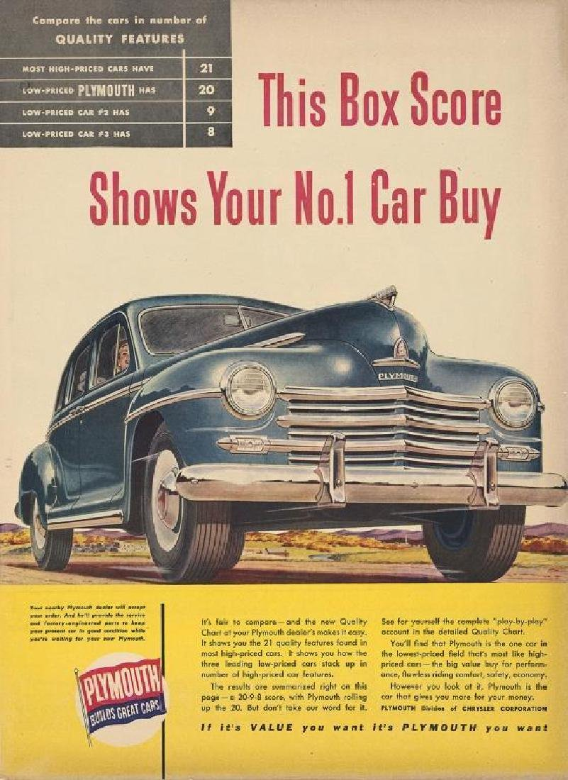 1947 Plymouth Cars Magazine Ad