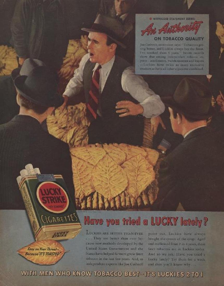 1939 Lucky Strike Cigarettes, Auction Magazine Ad