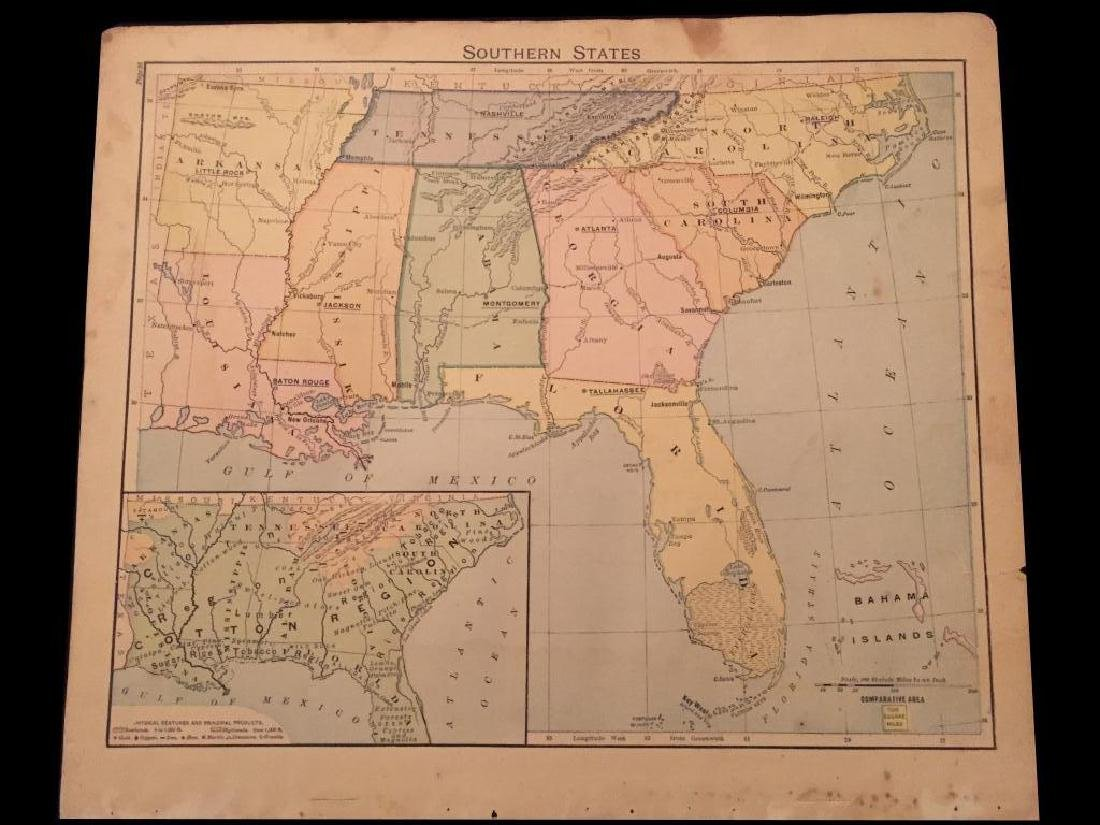 Original 19thc Map of Colored Southern States