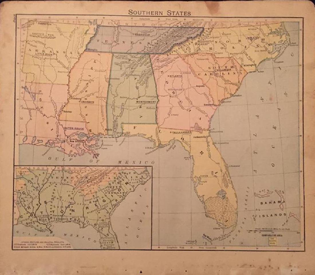 Original 19thc Map of Colored Southern States - 2
