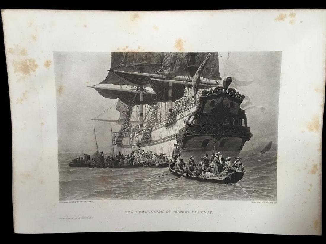 1880's Photogravure Engraving, Sailing Ship