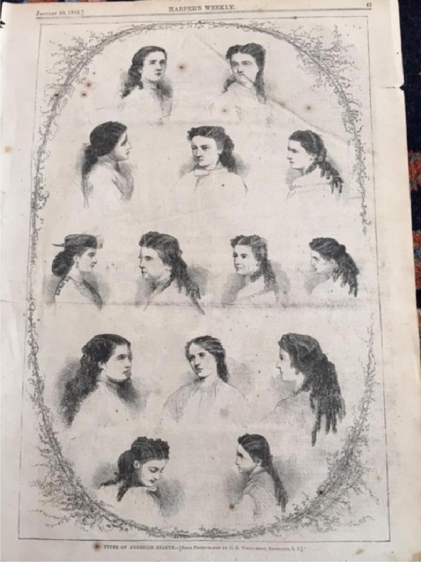 Original 1866 Harper's Weekly Page, Hairstyles