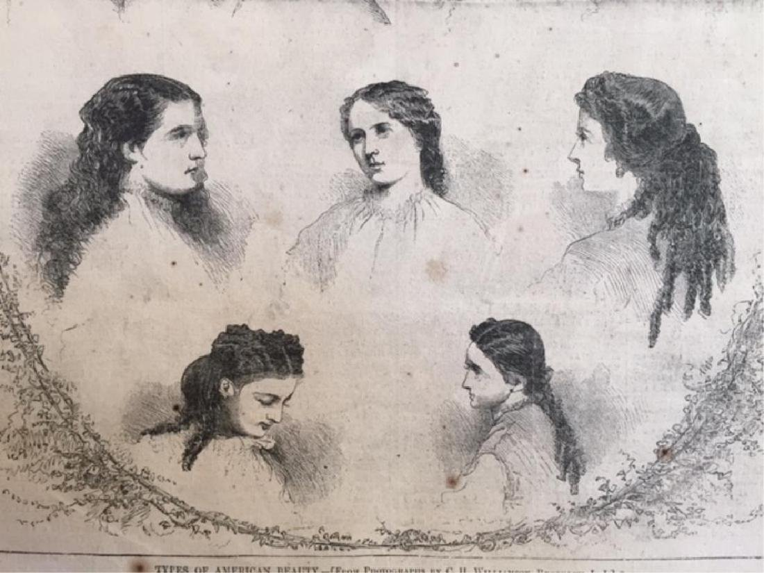 Original 1866 Harper's Weekly Page, Hairstyles - 2