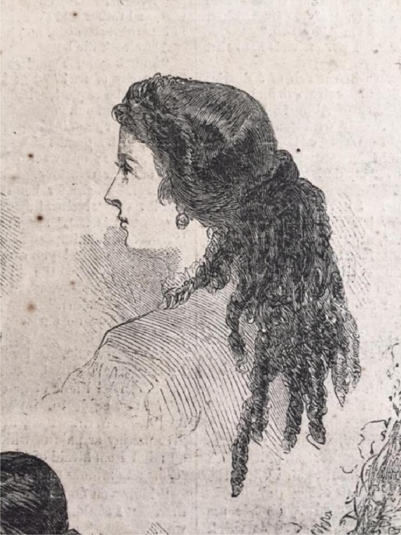 Original 1866 Harper's Weekly Page, Hairstyles - 3