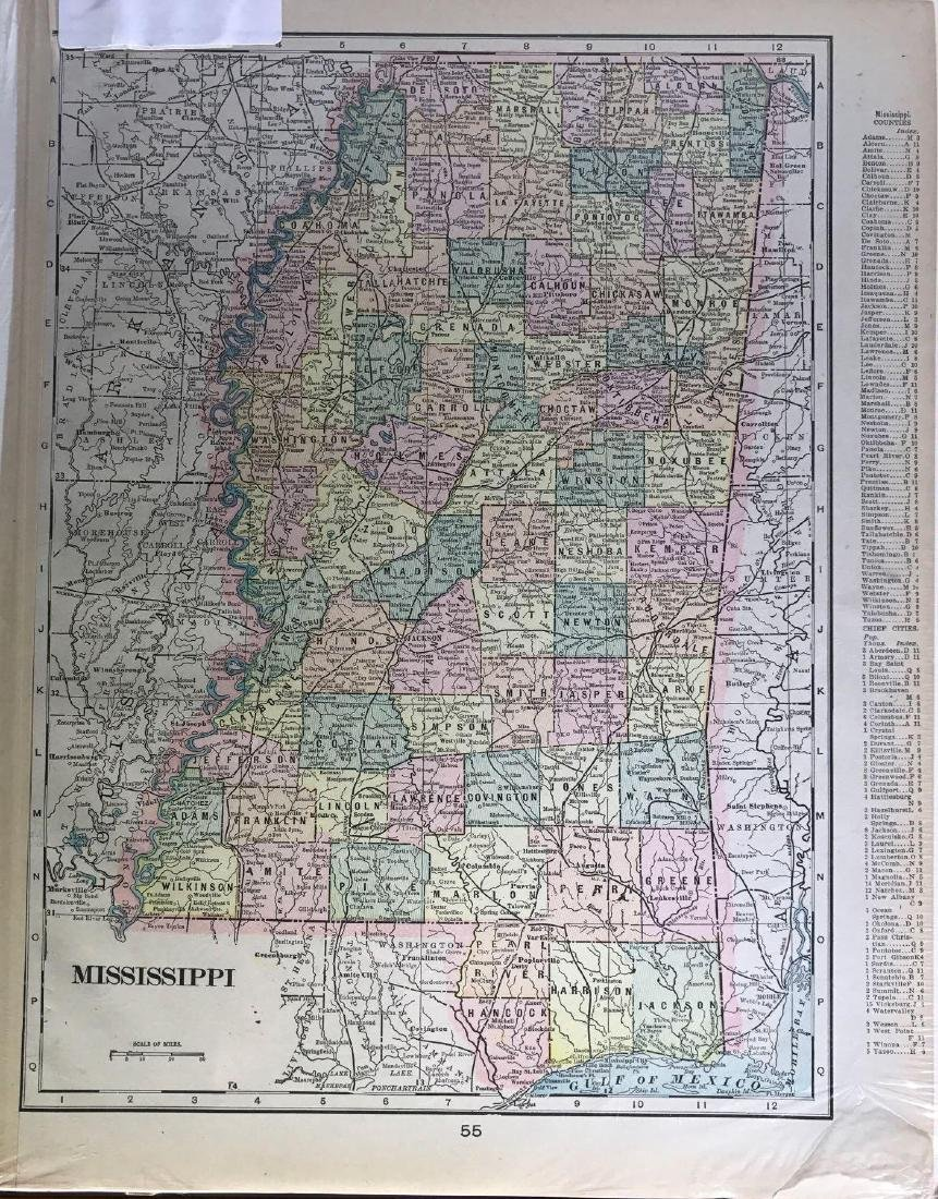 Turn of the Century Color Map of Mississippi with