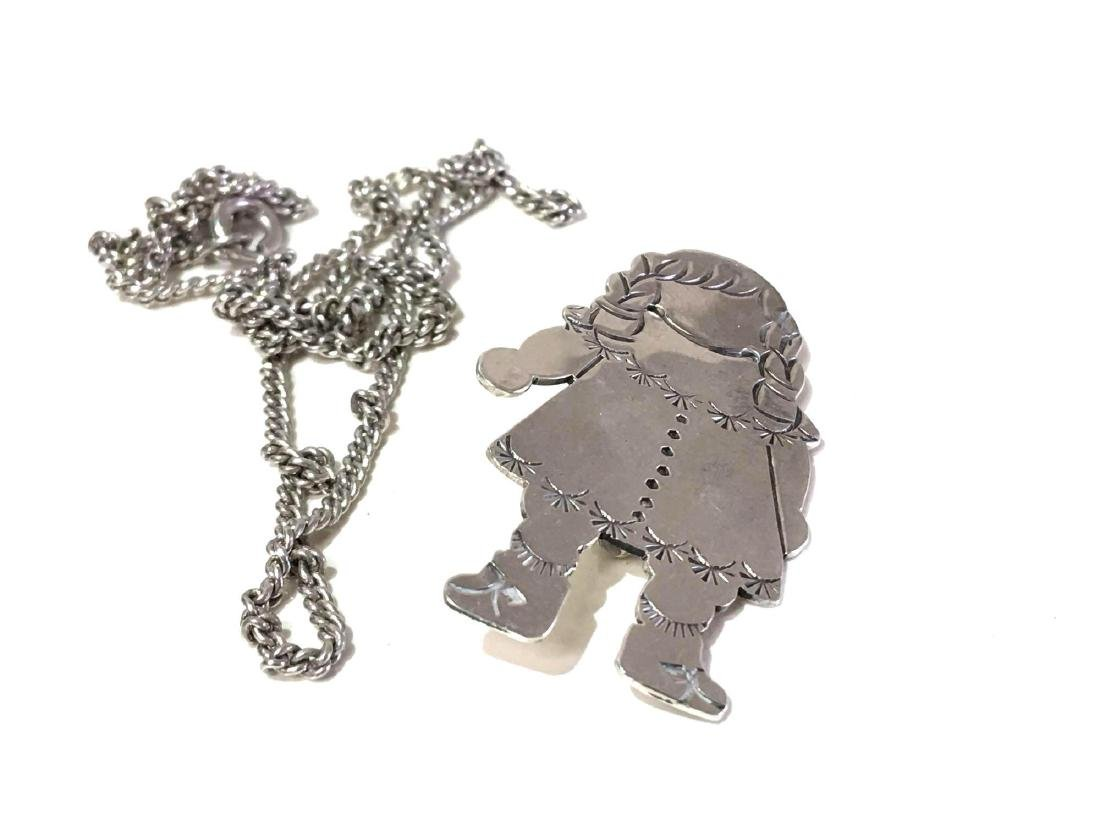 Darling Rag Doll Sterling Silver Pin with Necklace