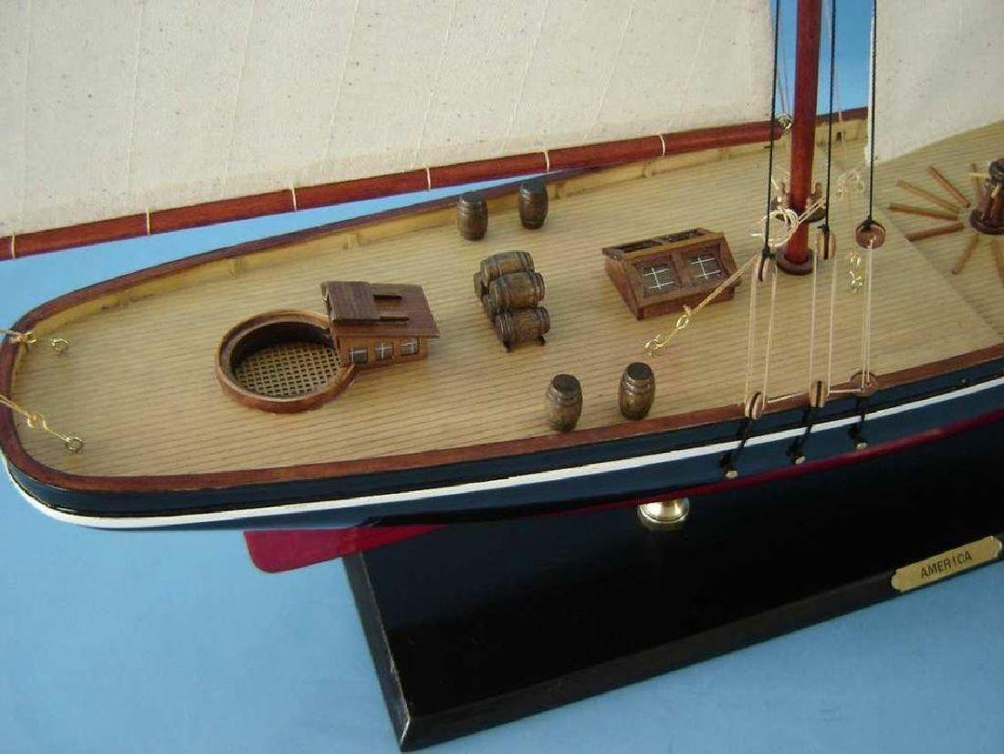 """Wooden America Model Sailboat Decoration 50"""" Limited - 10"""