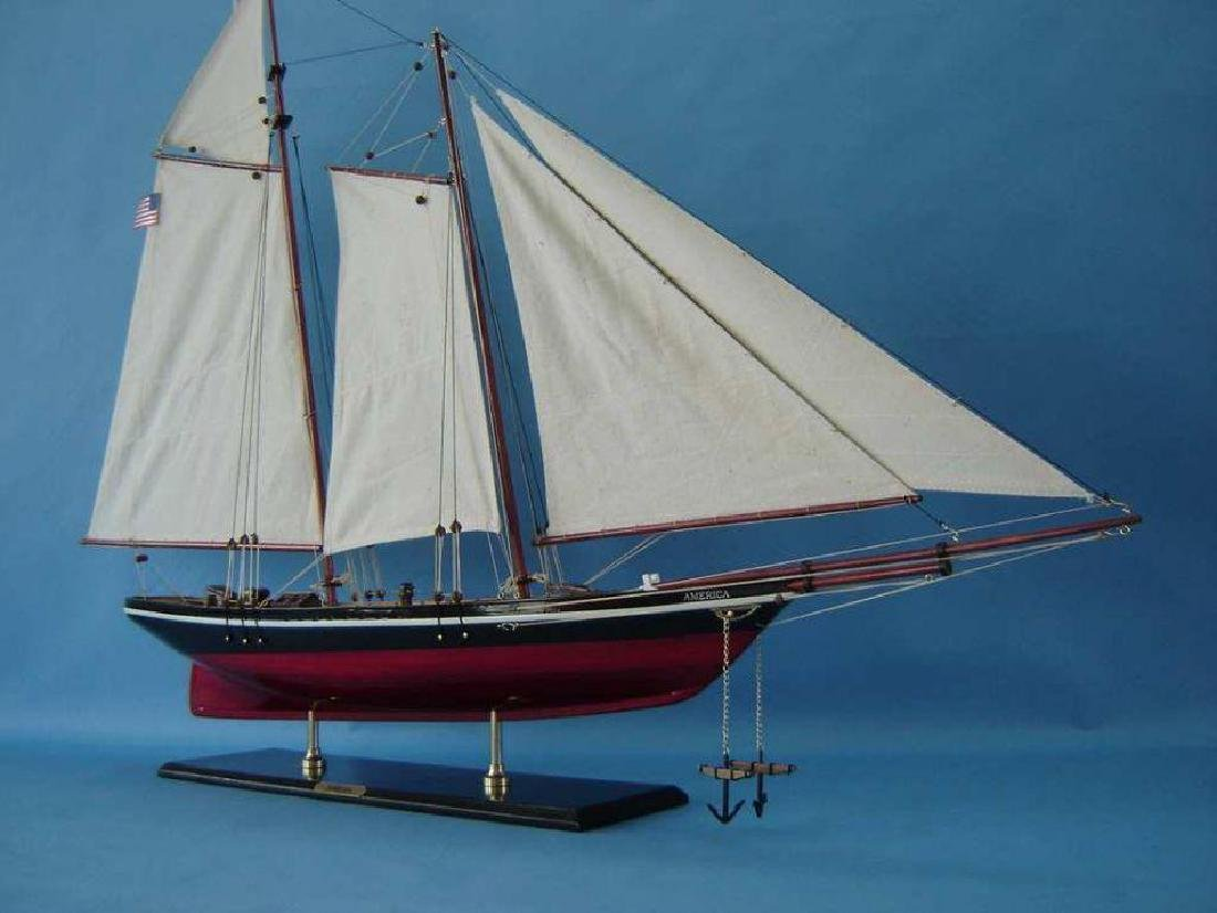 "Wooden America Model Sailboat Decoration 50"" Limited - 12"