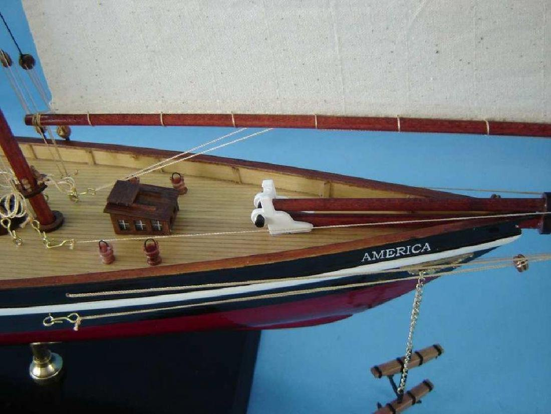 "Wooden America Model Sailboat Decoration 50"" Limited - 5"